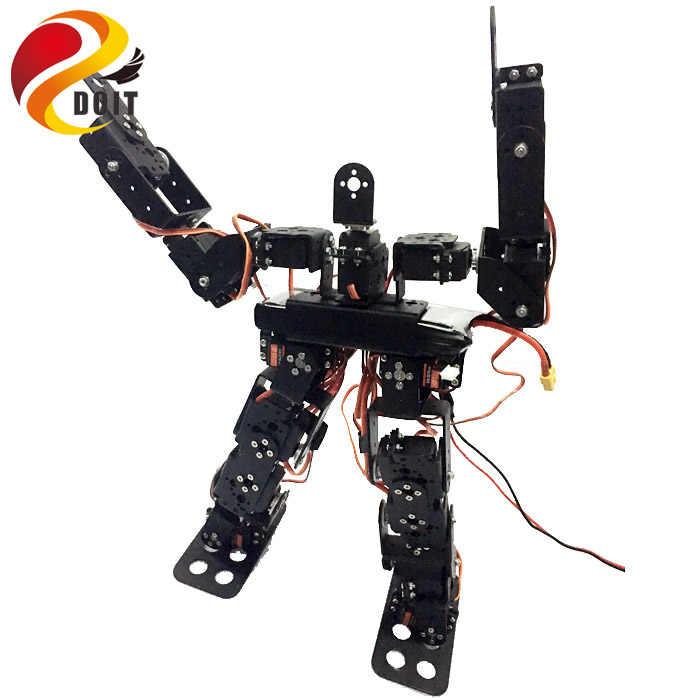 Оригинал doit 17DOF Biped Роботизированный образовательный робот-гуманоид робот комплект сервопривод кронштейн шариковый подшипник черный Бесплатная отправка код источника