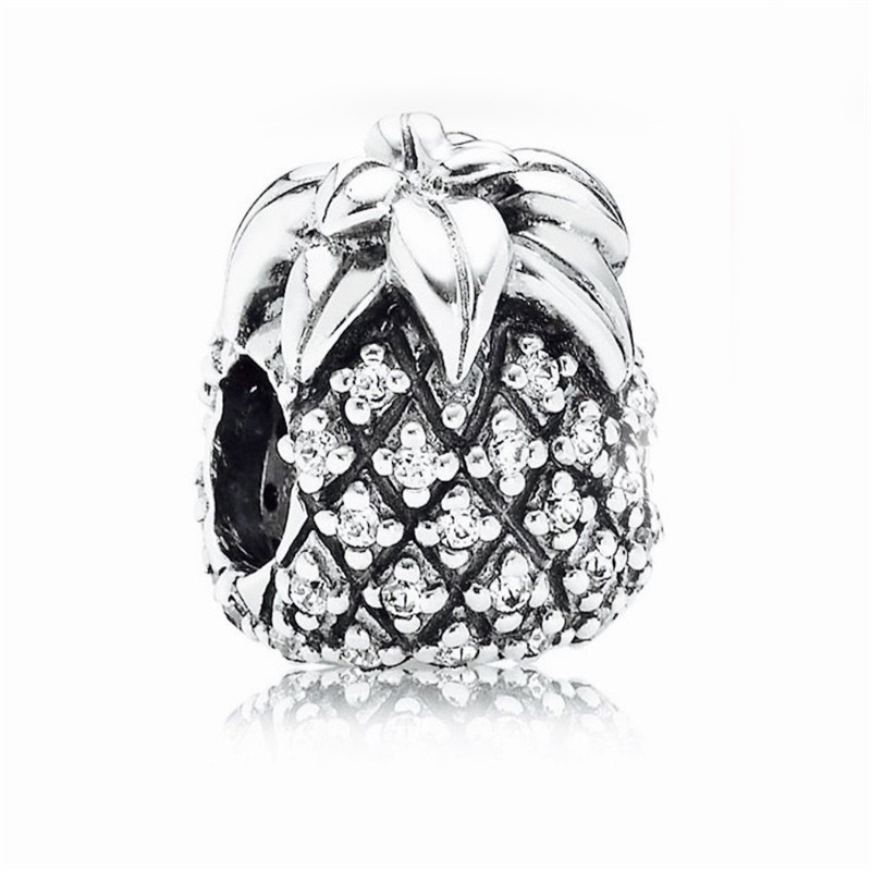 Sparkling Pineapple Clear CZ charm Authentic 925 Sterling Silver CZ Stone Beads Fits Europe charm bracelets DIY Making