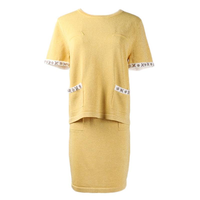 Las Traje Dos Jersey Elegante Lujo Pista Lolita Cultivo yellow Piezas Conjunto Diseño Falda Trajes Black Mujeres Twinset Bolsillos De Top Verano Xwz0pqw