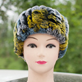 Besty  women Fashion Genuine Leather Rex Rabbit Hair Hats  Macrospheric Handmade Elastic Dual Multi-Colored Winter Warm Cap