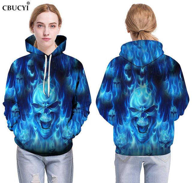 The latest blue flame skull print men's 3D hoodie fashion casual men's sweatshirt hip hop pocket hoodie, ahegao hoodie size 6XL