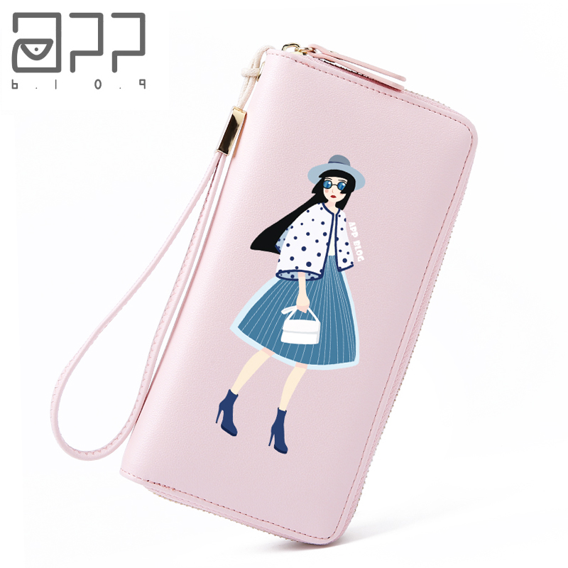 APP BLOG Brand Fashion Cool Lady Women's Purse 2018 New Long Wallet Canvas Printed Multiple Cards Phone Bags Originally Designed