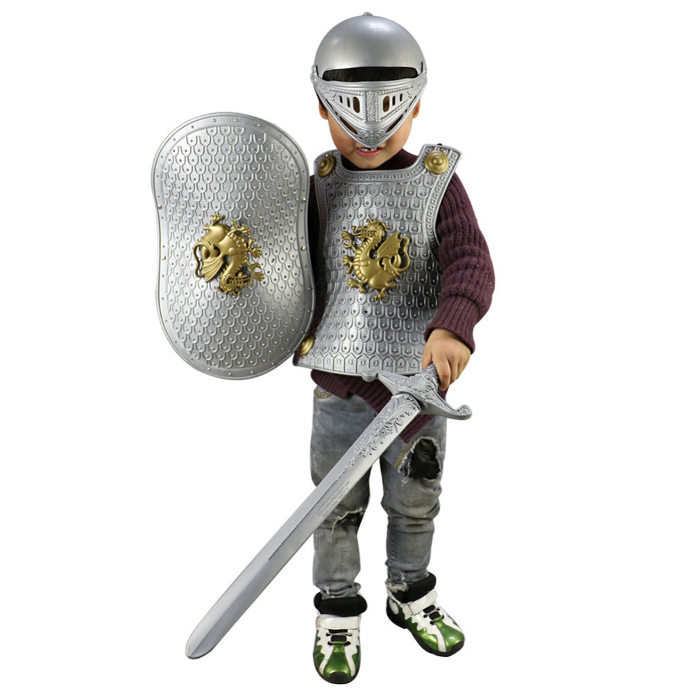 Halloween Children Kids Knight/Gladiator Dress-up Costume Armor+Shield+Sword+Helmet Warrior Cosplay Boy Party Play Drop Shipping