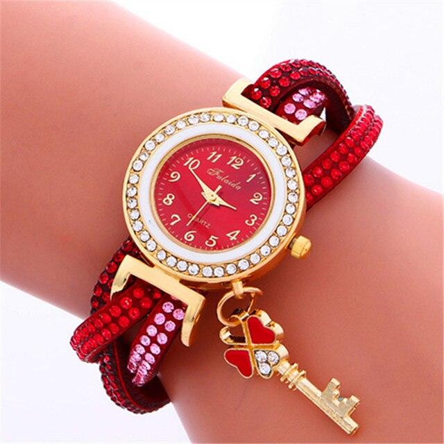 Ladies' Diamond Watch Little Key Pendant Multilayer Bracelet Watch Girls' Luxury