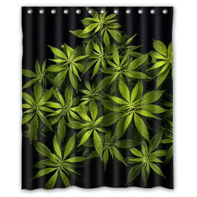 Marijuana Weed Custom Shower Curtain Waterproof Bathroom 36 Wx72H Inch