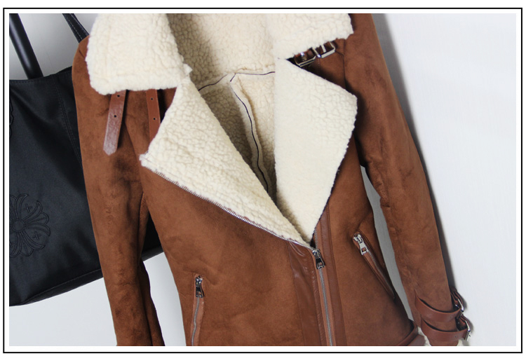 b67cfe6a6c2 2019 Winter Woman Suede Jackets Long Designer Shearling Coats Biker ...