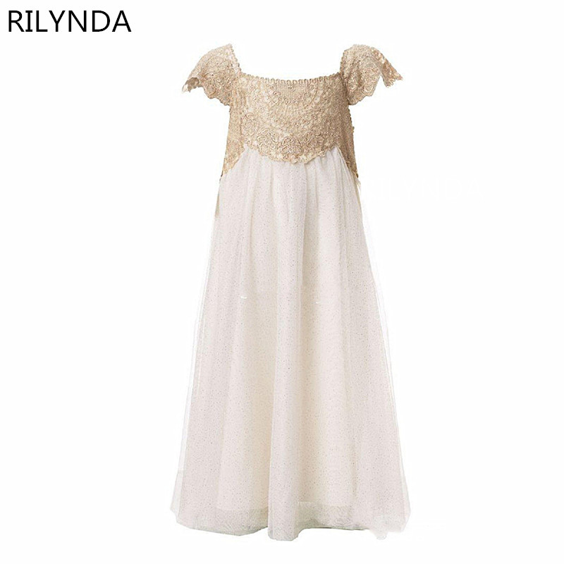 Ivory   Flower     Girl     Dresses   Scoop Neck Floor Length Appliques Lace Kids Wedding Party Gowns Communion   Dresses   Hot Sale
