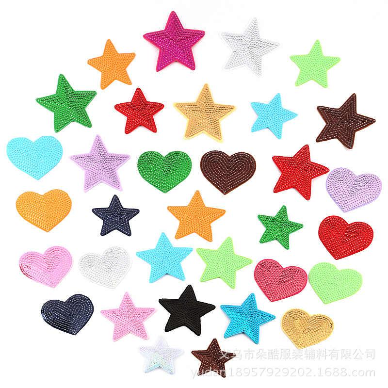 e064c4395619c Высокое качество 4 шт. смешивания сердце звезды блестки патчи для одежды  Вышитые утюг на патч