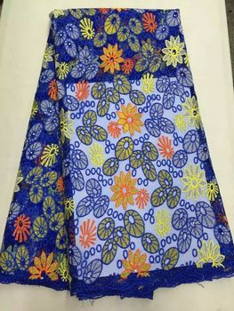 Hot sale royal blue french net lace fabric with jacquard and rhinestone african mesh lace fabric for dress ON71-3,5yards/pc