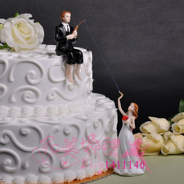 Free Shipping Groom Fishing Bride Wedding Cake Topper Couple For