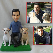 OOAK Custom Cake Topper Birthday Wth Dog Gifts For Brithday Handmade Sculpture Figurines Mini Statue Face From Photo