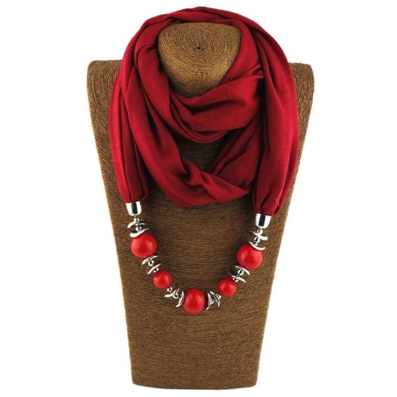 Delle donne di Modo Fazzoletto Da Collo Sciarpa Ad Anello Collane di Perle di Monili di Colore Solido Dello Scialle