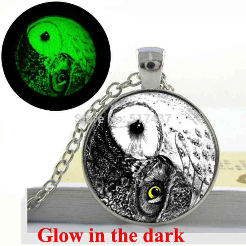 Glow in the dark Necklace Pendants,Yin Yang Owl Necklace ,Bird Jewelry , silver owl necklace Glass Art Photo  Glowing Jewelry