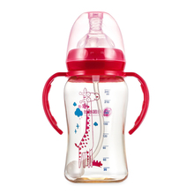 240ML Baby Feeding Bottle PP Milk with Handle Wide Caliber Nursing Breast Nipple Training Bottles