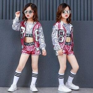 Image 2 - Одежда для девочек в стиле хип хоп с блестками, детские пальто, топы, рубашка, короткий костюм для джазовых танцев, одежда для бальных танцев, уличная одежда для детей