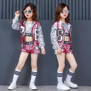 Image 2 - Girls Sequin Hip Hop Clothes for Kids Coat Tops Shirt Short Jazz Dance Costume Ballroom Dancing Clothing Streetwear for Children