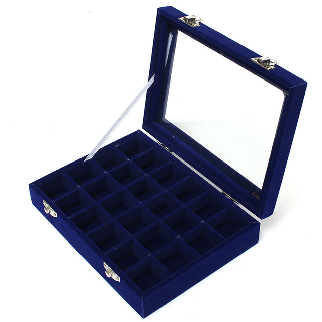 Royal Velvet With Glass Jewelry Box (24 Grid) 3