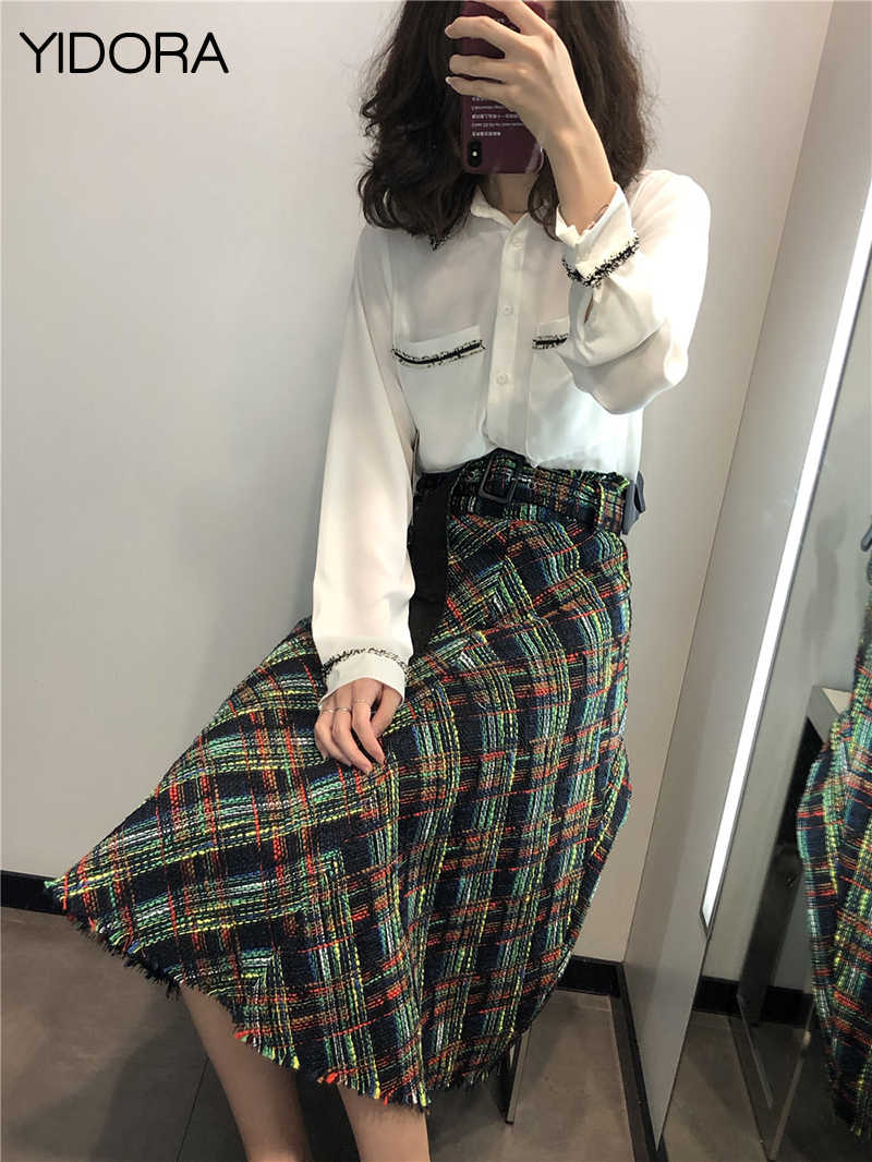9804682b9052 Women 2018 Multicolor High Waist Checked Tweed A-line Midi Skirt Matching Waist  Belt Features