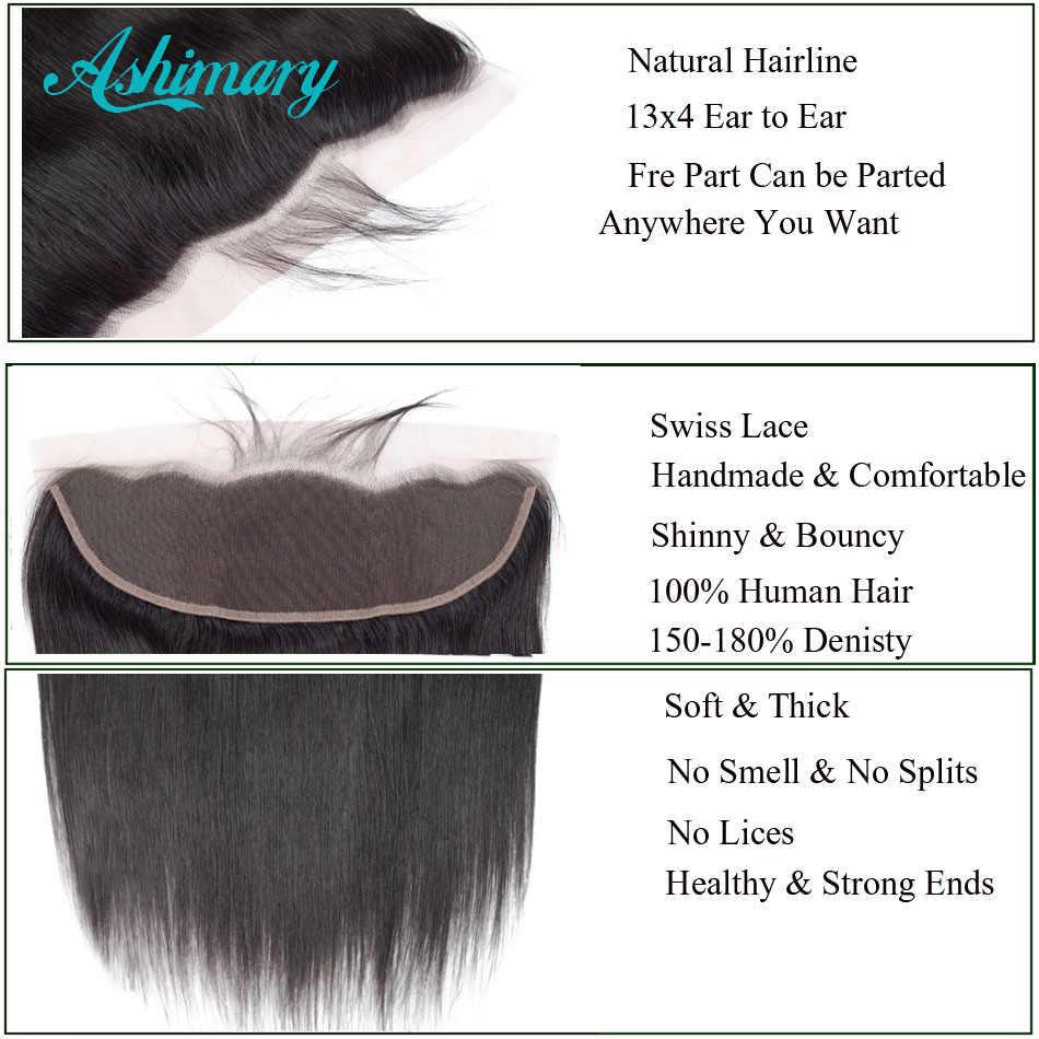 Ashimary малазийские прямые волосы 13x4 кружева фронтальное Закрытие с пучками Remy человеческие волосы пучки с фронтальным кружевом бесплатная часть