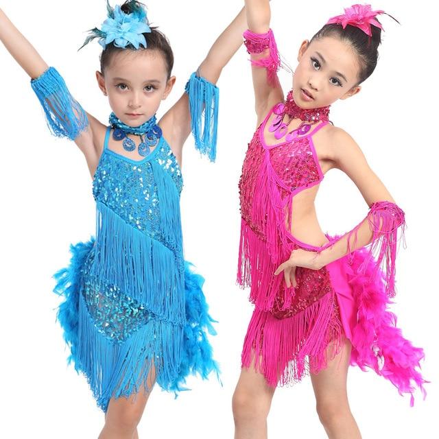 8438204edfe3 5pcs/lot Free Shipping Sequin Girls Latin Dance Dress Kids Children Tassel  Feather Samba Salsa Tango Ballroom Dancing Costumes