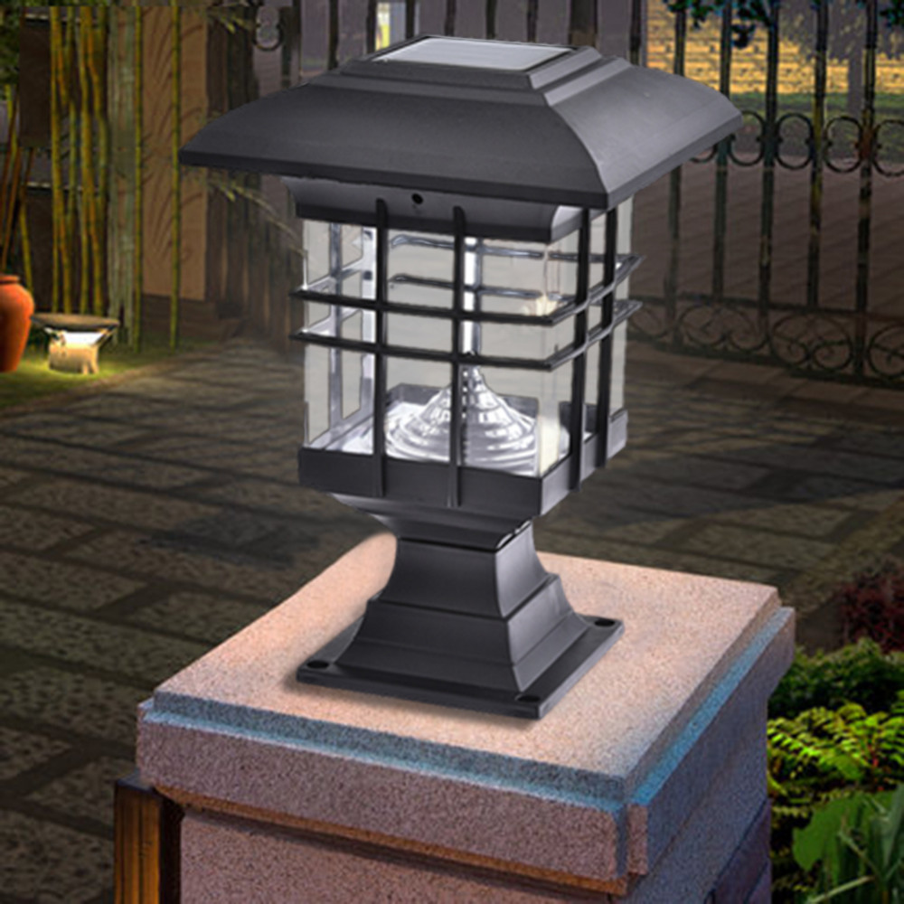 Solar lights for pillars 18 inch galvanized spikes