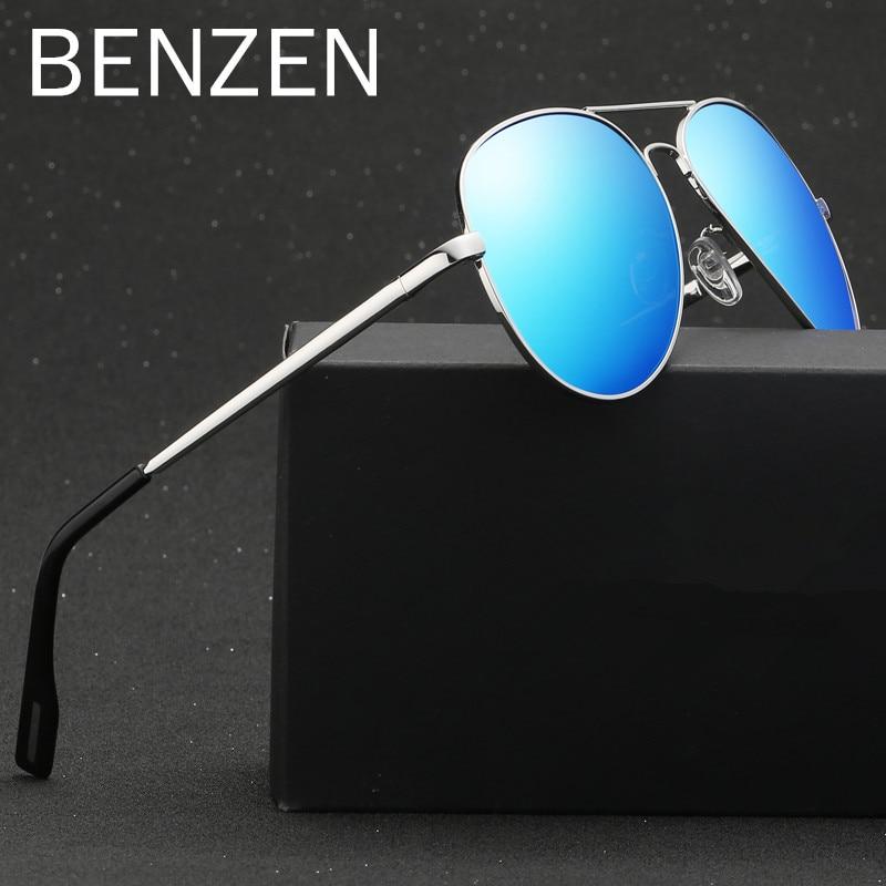 BENZEN HD Avaition Sunglasses Men Colorful Polarized Pilot Male Sun Glasses UV Glasses For Driving Shades With Case G9221 triumph vision male luxury brand sunglasses for men pilot cool shades 2016 original box sun glasses for men uv400 gradient lens