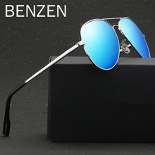 BENZEN Vintage Sunglasses Men Colorful Polarized Pilot Male Sun Glasses UV Glasses For Driving Shades With Case G9221(China)
