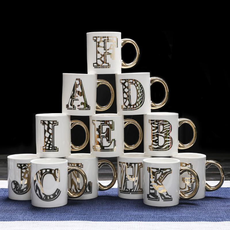 european cup office coffee. European Style Gold Plated 26 English Letters Mug Creative Ceramic Concise Lovely Office Gift Coffee Cup Free Shipping-in Mugs From Home \u0026 Garden On G
