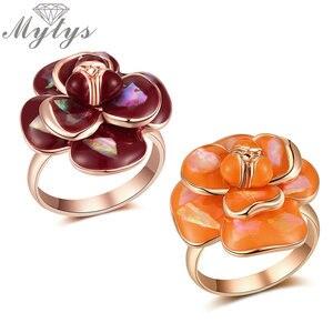 Эмалированное кольцо Mytys, модное романтическое кольцо с цветами для свадебной вечеринки, подарок для подружки невесты, R2045, R2044