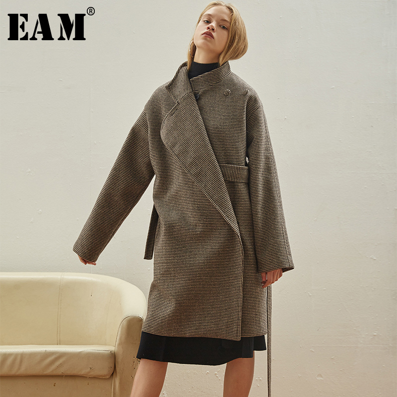 EAM 2019 New Spring Lapel Long Sleeve Coffee Plaid Prited Large Size Belt Woolen Coat
