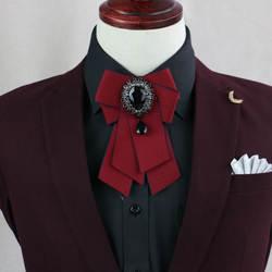 Ручная работа бутик Свадьба Корейский ретро джентльмен платье Красный Черный Темно-синий галстук-бабочка высокого класса британское