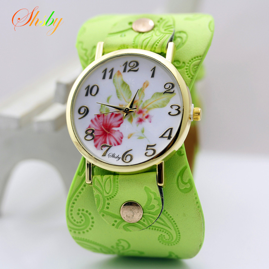 shsby New Arrival Printed leather Bracelet Wristwatch Wide band Dress Watch with flowers Fashion Women Casual Watch girl