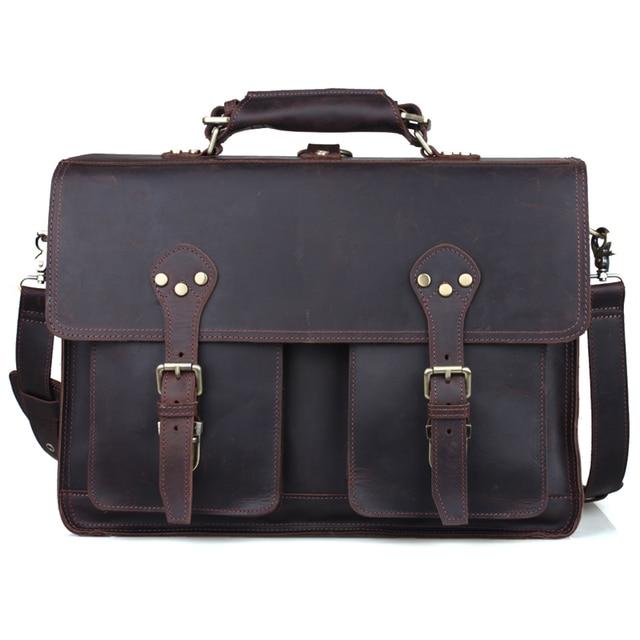 1c12db5167a18 Luxury Mens Thick Leather 14 Inch Laptop Bag Business Briefcase Vintage Tote  Document Bags Satchel Messenger Shoulder Bag Brown