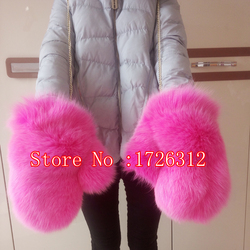 Winter fur gloves women genuine fox fur real leather palm new brand glove Russian fox fur glove&mittens lined