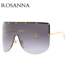 ROSANNA Vintage Shield Visor Mask Sunglasses Women Men 2018 Oversized Windproof Glasses One Peice Big Frame Goggles Sun Glasses поднос декоративный rosanna glasses