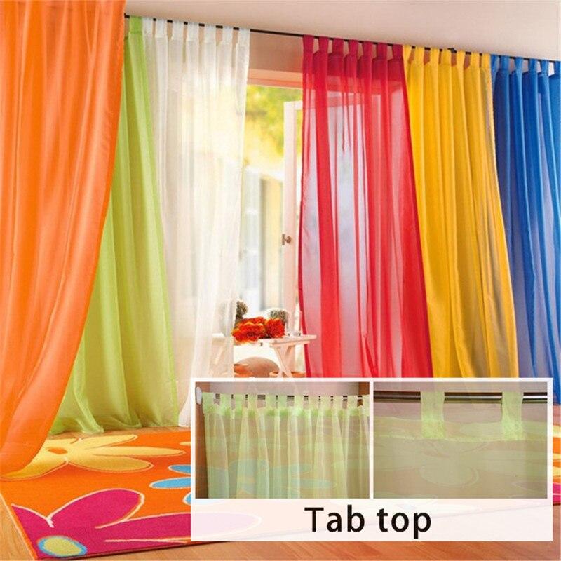 European Tab Top Voile Tulle Sheer Gauze Blinds Curtain
