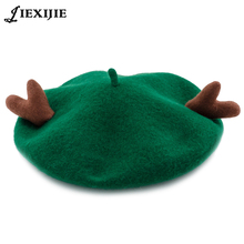 Jiexijie 2018 New Winter Warm solid Hat Wool Antler Berets Christmas Gifts Men Women Cute Caps 12 colors Bonnet ladys
