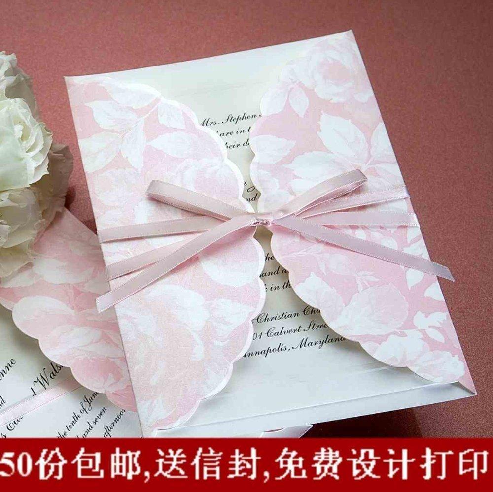 C2132 Pink Folded Lovely Theme /50pcs*lot Wedding Invitation Card ...