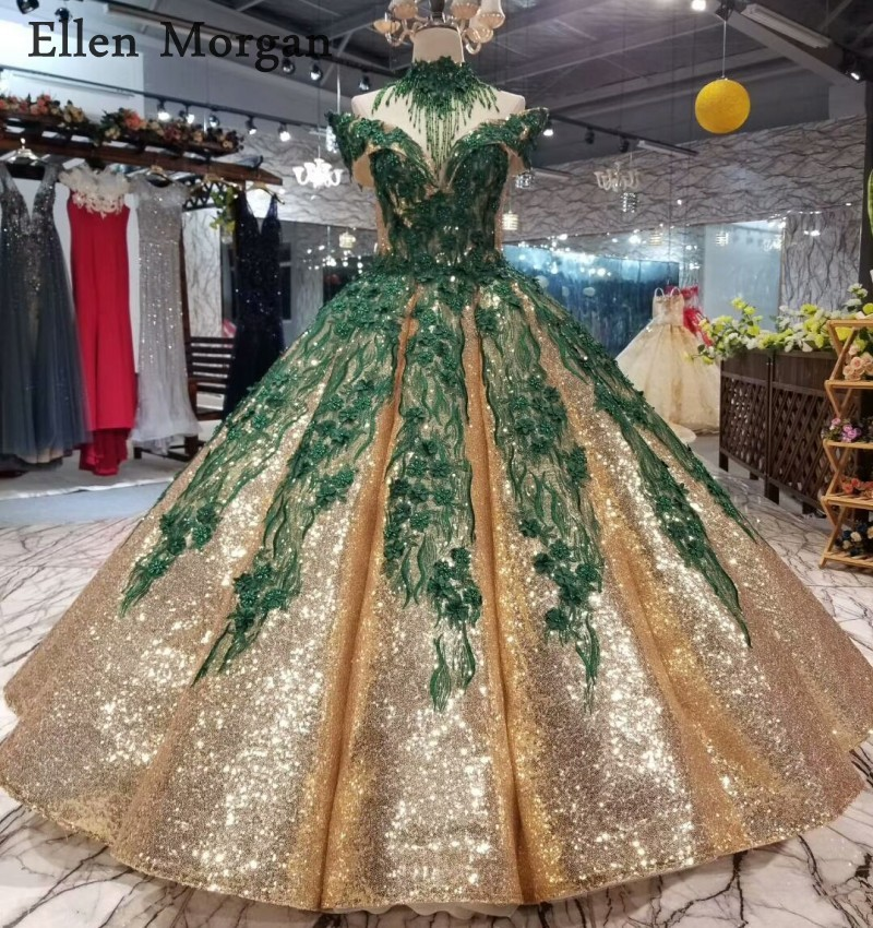 Robes de mariée en tissu pailleté or gonflé 2019 avec dentelle vert foncé hors épaule longueur de plancher princesse robes de mariée sur mesure