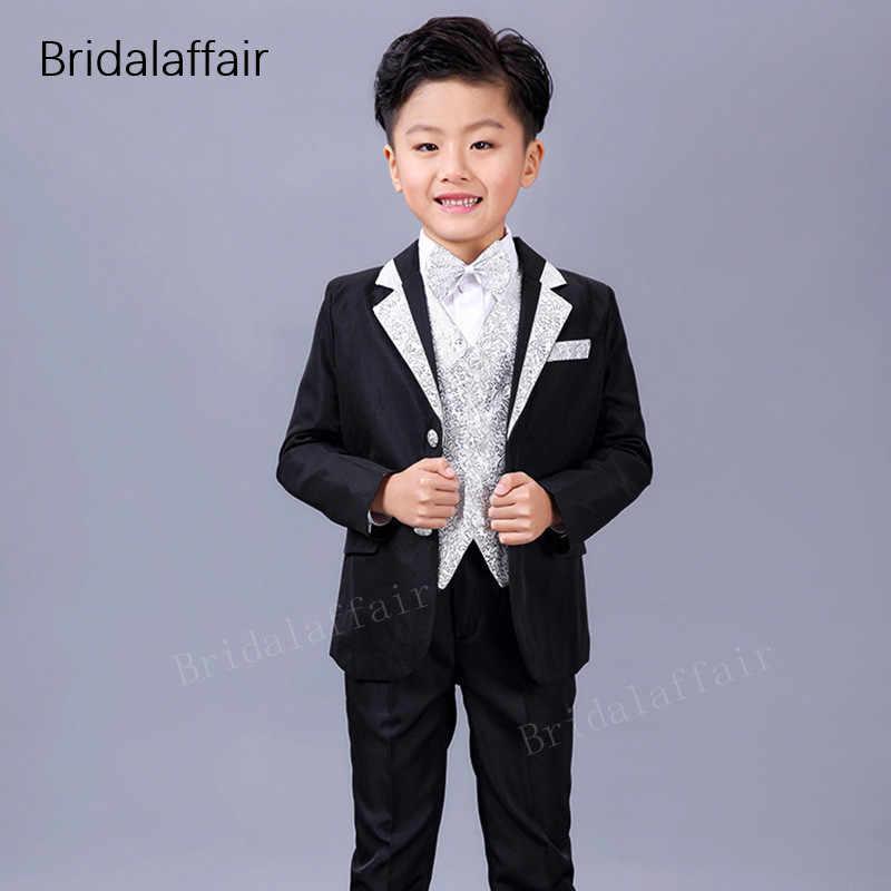 KUSON 正式な子供は花の男の子パーティータキシード衣装スーツ最新の子供黒ブレザー結婚式のスーツ 2018 (ジャケット + パンツ + ベスト)