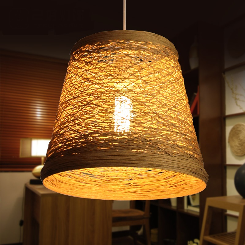 Vine Pendant Light rattan pure handmade restaurant bedroom bar Chinese retro garden bamboo light rattan single lampshade pendant