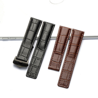 TJP 20mm 22mm Genuine Leather Watch Strap Black Brown Watchband With Brown Black Stitched Replace TAG