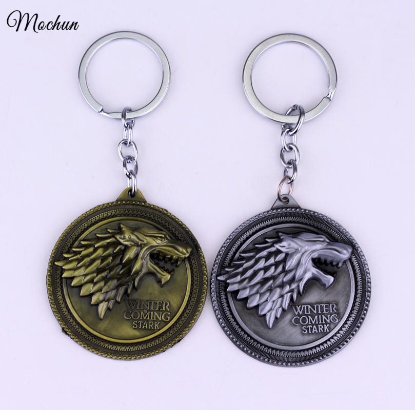 MQCHUN Game of Thrones Shield Round Coin Metal A Song of Ice and Fire Keychain Pendant