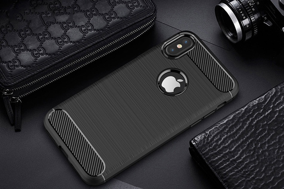 TOMKAS Phone Case Carbon Fiber Cover For iPhone XS Plus X 2018 5.8 6.1 6.5 Inch Soft TPU Silicon Case Protective Back Cover 2018 (11)