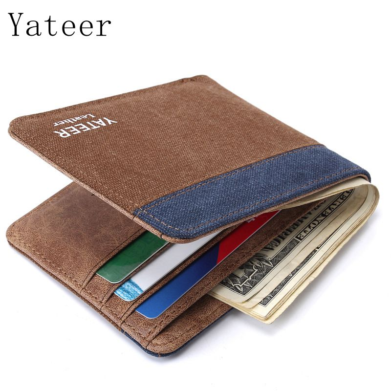 Yateer New Men's Wallet Card Package Wholesale Canvas Wallet Ultra Thin High Capacity Wallet Men's Business Men's Wallet Selling