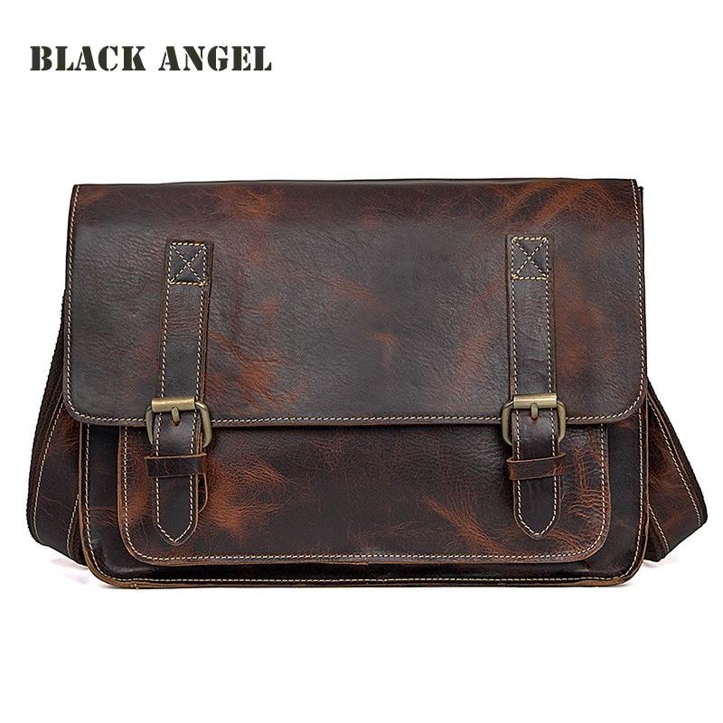 все цены на BLACK ANGEL Genuine Leather men messenger bags Vintage designer men cow leather briefcase Crossbody shoulder bags male