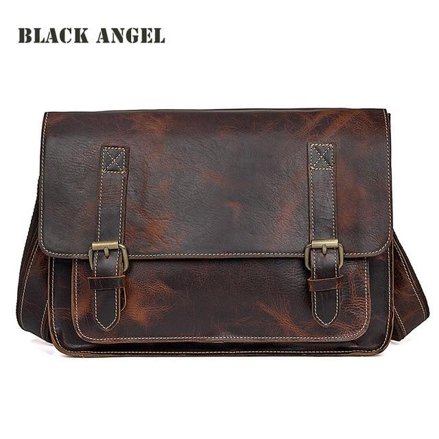 BLACK ANGEL Genuine Leather men messenger bags Vintage designer men cow  leather briefcase Crossbody shoulder bags male