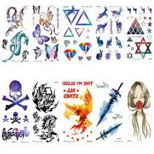 RC01-50 Multi Color Disposable Waterproof Tattoo Sticker Color Runs Elk Pattern Temporary Tattoo Stickers Flash Fake Tattoo Foil