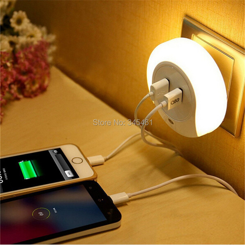 1x Practical Multifuctional Smart Design Led Night Light With Light Sensor Dual Usb Wall Plate Charger For Bathroom Bedroom