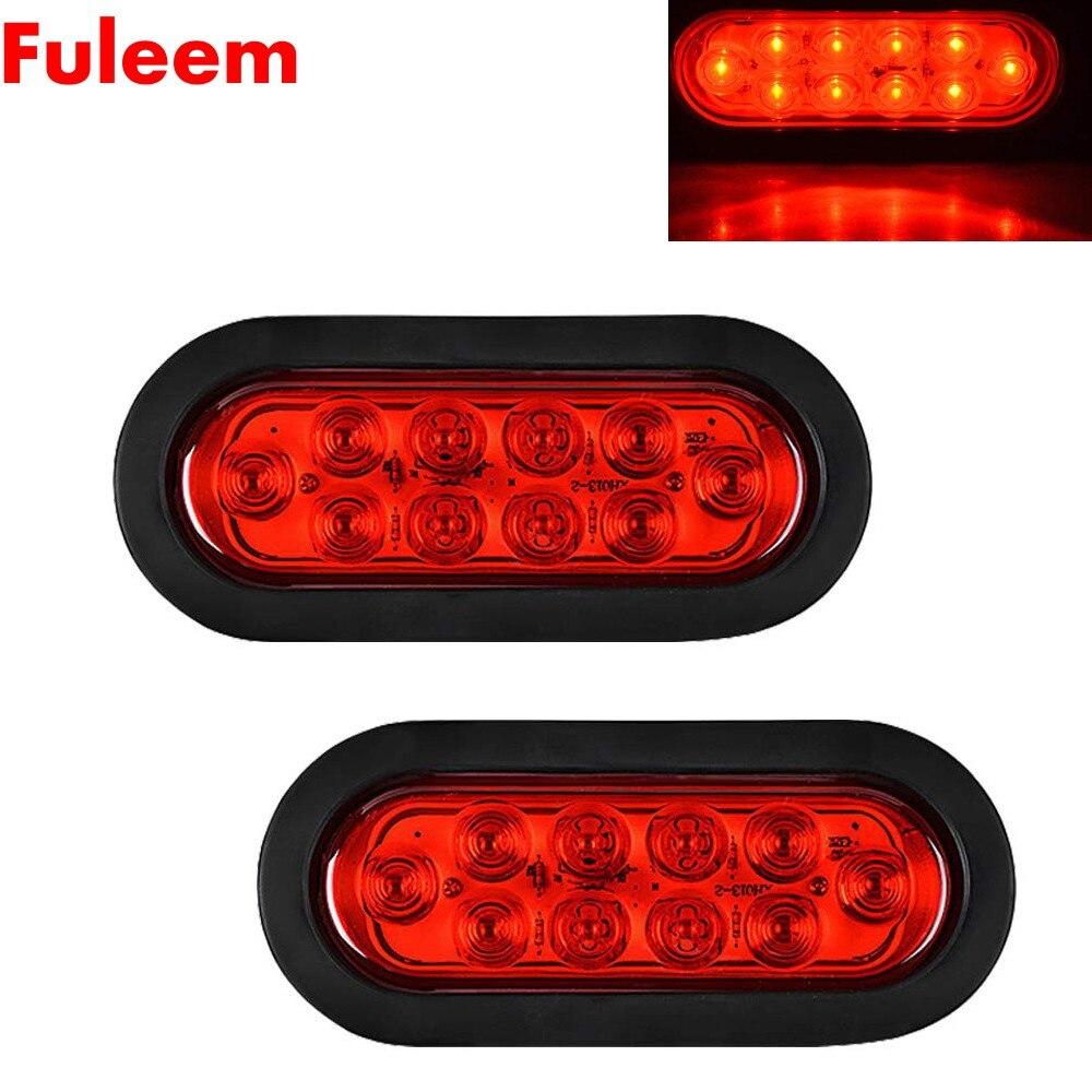 "10 LED 2 X 6/"" Oval Red Sealed Marker Stop Brake Rear Truck Trailer Surface Mount"